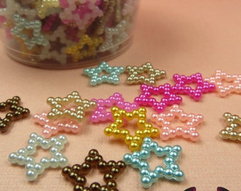 50 Pcs Pearlized STARS Decoden Flatback Kawaii Cabochons 12mm