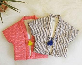 Baby Hanten,Kimono jacket, japanese vest, FRAISE