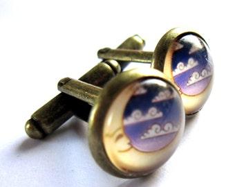 Crescent Moon Cufflinks Jewelry For Men
