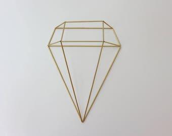Diamond Brass Sconce, 1 Diamond Modern Minimalist Himmeli Wall Decor, Sculpture, Geometric Ornament, Air Plant Holder