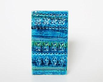 Hand Built Square Blue Rimini Blu Mid-Century Vase - Aldo Londi for Bitossi