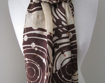 Brown Silk Scarf with Securely Ironed-on Sparkling Jewels - All seasons long red silk scarf, gift for her, Holiday accessories
