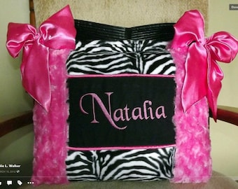 Custom made Baby Girl Diaper Bag Hot pink Rose Cuddle Black n White Zebra Faux Fur Fabric High Quaily Extremly Soft