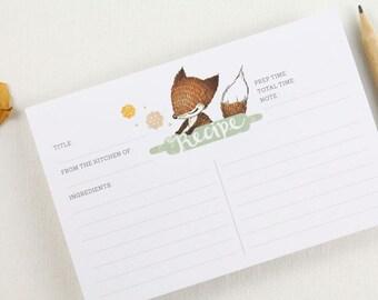 15 Recipe Cards - Fox & Rolling Pin
