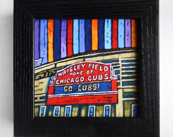 Wrigley Field, Wrigley Marquee, Chicago Cubs 5x5 Box Frame Art Print on Canvas