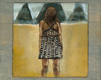 Fine Art Print, Away From Here, Girl In Field, Acrylic Painting, Archival Art Print 5 x 7 inches
