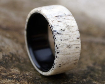Antler Ring, Men Ring, Ebony Wood Ring, Wedding Ring