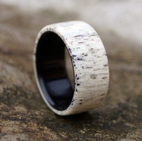 Antler Ring Men Ring Ebony Wood Ring Wedding Ring