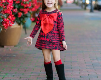 Red High Low Large Bow Dress - Infant, Toddler & Girls
