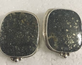 Sterling silver square stud earrings with iron pyrite