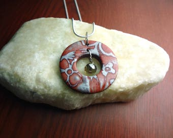 Red and Silver Floral Polymer Clay Pendant on 18' 925 Silver Chain