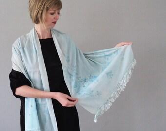 Beautiful Blue Silk Rose Shawl with Fringe