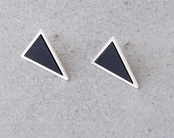 Geometric Stud Earrings, Black Triangle Earrings, Silver Geometric Earrings Gift For Her, Black Stud Earrings, Minimalist Earrings For Women