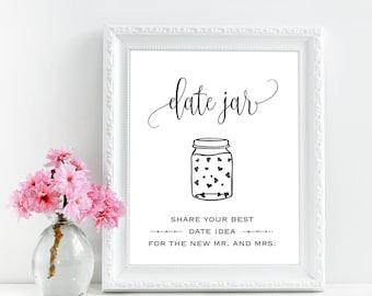 Date night jar sign printable, Date jar sign, Wedding date jar printable sign, Bridal shower date night jar sign, Rustic date night signage