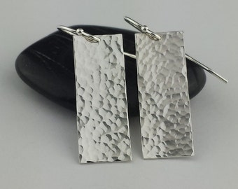 Silver Rectangle Earrings, Sterling Silver Rectangle Earrings, Sterling Silver, Hammered Earrings, Sterling Rectangle Earrings