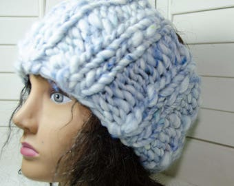 "Chunky Head Band/ Dread Wrap Baby Blue - Hand Spun Art Yarn - Gift for Her - Snow Gear - Adult Size 5 1/2"" Wide Soft n Warm"