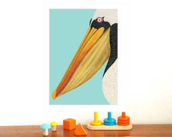 "Poster ""PELICAN"" 30 x 40 cm - Illustration for kid's room - graphic Poster"