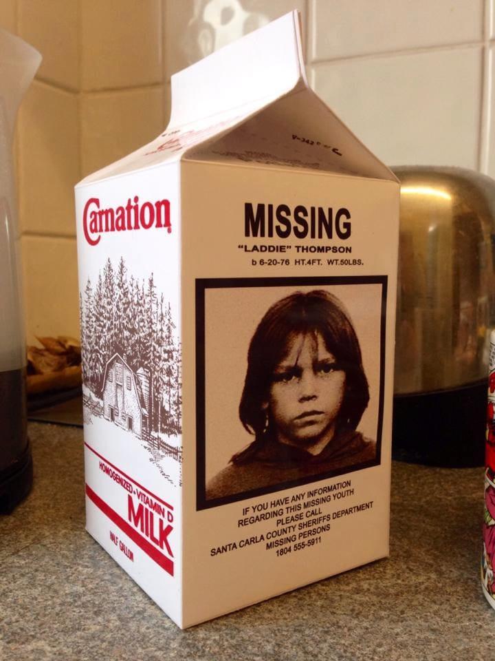 Lost Boys Replica Laddie Thompson Milk Carton