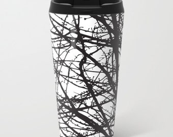 Black and White Branches Metal Travel Mug - Stainless Steel Travel Mug With Lid - Gift For Men - Gift For Women - Aldari Home