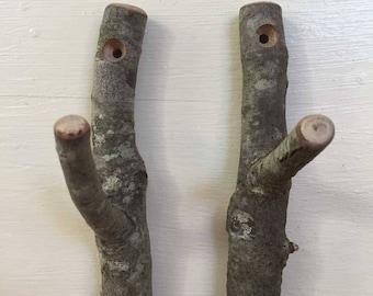 Rustic twig hooks.  Bundle of 2.