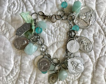 Upcyled Repurposed Vintage Religious Medals Bracelet Silver