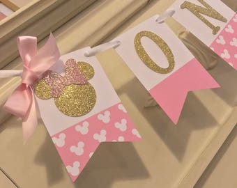 Pink & Gold First Birthday High Banner Cake Smash Set Minnie Mouse  Birthday Decorations