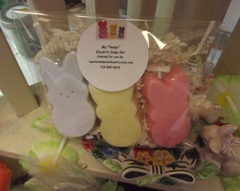 Easter Peep Glycerin Soap, Easter Gift Set, Bunny Soaps, Bunny Favors, Easter Soap Favors, Easter Soap Set, Easter Gift Set, Bunny Soaps