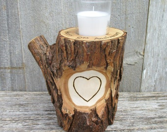 9th Anniversary Candle of Rustic Willow Wood Inscribed with Your Names in a Heart  OOAK Unique and One of a Kind Wood Burned Personalization