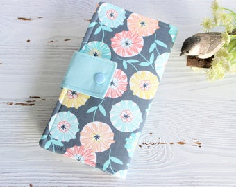 Floral circle Womans bifold wallet, slim ID cotton fabric handmade wallets, womens travel clutch wallet, gifts for her