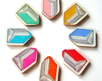 Book Brooch - Available in 8 Different Colours