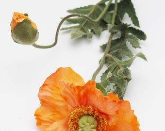 Orange Poppy Flower Stem | Wreath Supplies | Wedding Bouquet | Millinery Flower | Hair Accessory | Flower Arrangement | The Blue Hutch