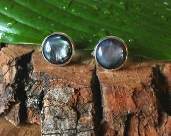 Black opal stud earrings, gift for her