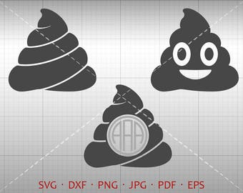 Poop Emoji SVG, Poop Monogram SVG with Circle Font, Poop Clipart Silhouette Cricut Cut Files (svg, dxf, eps, png, pdf)