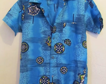 Men's Vintage 70's GROOVY Blue DISC0 era Short Sleeve Poly HAWAIIAN Shirt By Sachi's.S