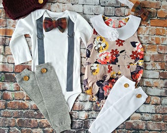 Twin Baby Girl and Boy Outfits. Fall, Thanksgiving Set. New Baby. Baby Shower gift. Blessing outfits. Bowtie Bodysuit w Romper. Burgandy.