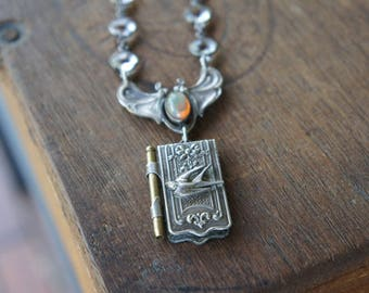 Antique Assemblage Necklace with Art Nouveau French Butterfly, 19th Century Bird Aide de Memoire and Rock Crystal Chain