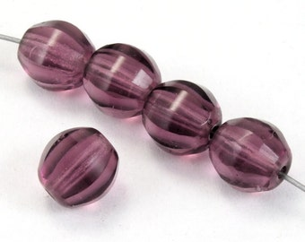 8mm Amethyst Melon Bead (12 Pcs) #2866