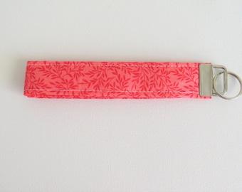 FREE SHIPPING ALWAYS - Pink Fabric Keychain, Key Fob Wristlet, Key Fob Keychain, Key Wrist Strap.