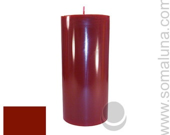 3 x 6.5 Dark Red Classic Hand-poured Unscented Pillar Candles Solid Color