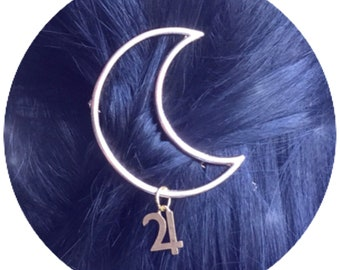 Jupiter Moon hair clip with planet glyph symbols, in gold or silver finish