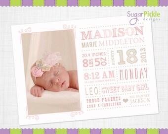 Girl Birth Announcement, Girl Subway Art birth announcement, 5x7, baby girl, Birth stats card, Pink Birth Announcement card, Subway Art