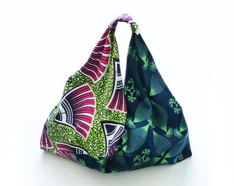 large reversible pink & green wax origami bag