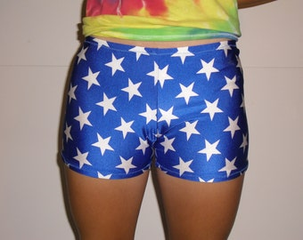 Blue with white stars spandex shorts