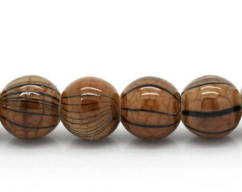 25 8mm dyed Brown striped agate beads