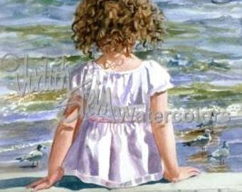 """Beach Girl Watch Seagull Sea Bird, Seashore Seascape, Brown Curls, Children Watercolor Painting Print, Wall Art, Home Decor, """"Bird Watcher"""""""