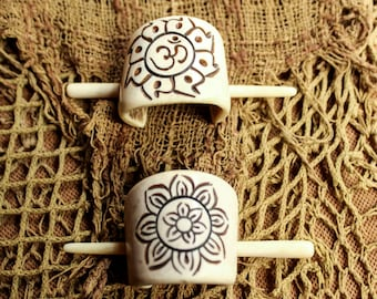 Bone hand carved tribal Ohm flower etching hair clip, hair adornment