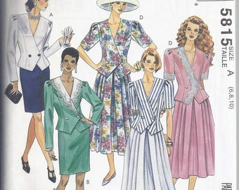 """McCall's 5815 Sewing pattern from 1992.  Misses Double breasted Top and Skirts   Bust 30 1/2-32 1/2"""" UNCUT"""