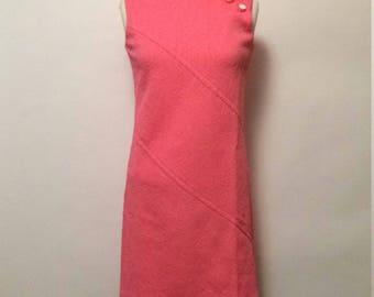 Vintage 60s Pink Textured Dress