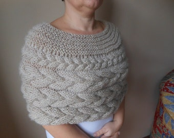 Cable Knit Capelet Shawl Wedding Shrug Poncho Neck Warmer  Beige