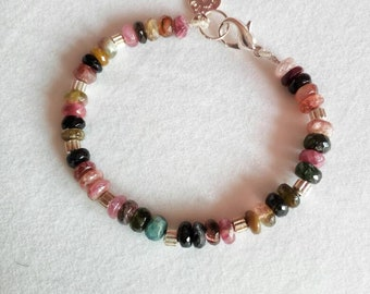 Multicolor Natural Tourmaline Bracelet